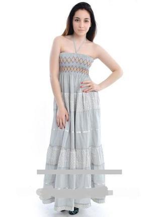 Летнее натуральное платье в пол