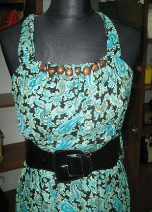 Классное летнее платье в пол с принтом огурцы