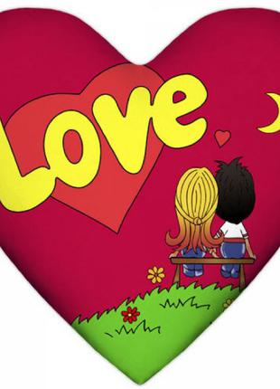 Подушка Love is сердце (красная, синяя)