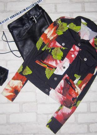 Крутая курточка, тропический принт, пиджак