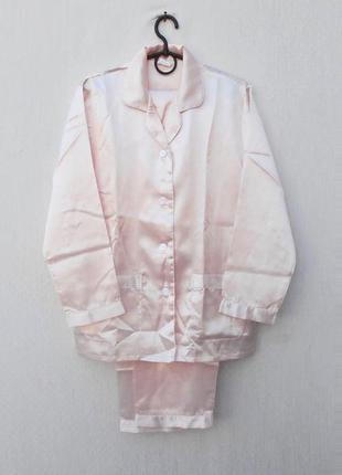 Пудровая атласная пижама для сна и дома штаны + рубашка 🌿