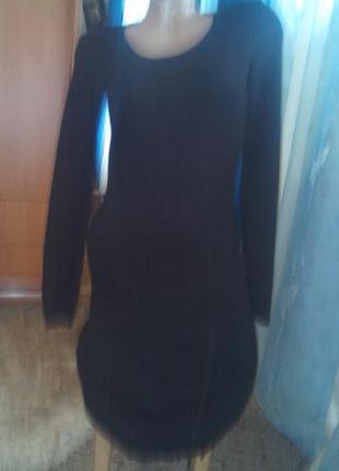 Платье-миди трикотажное с замком и латками