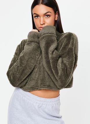 Распродажа sale до 30 июня 🔥 хаки укороченный пушистый свитер