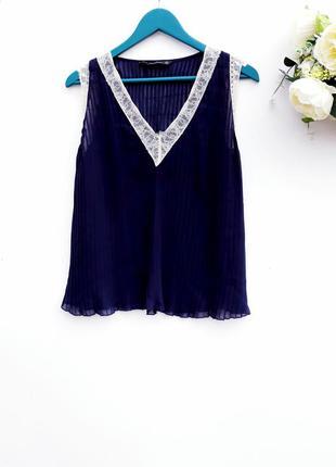 Красивая шифоновая блузочка от zara блузка плиссе с круживом