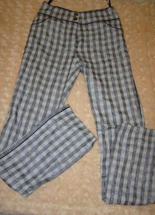 Крутые вечерние брюки с люрексовой нитью и лампасом