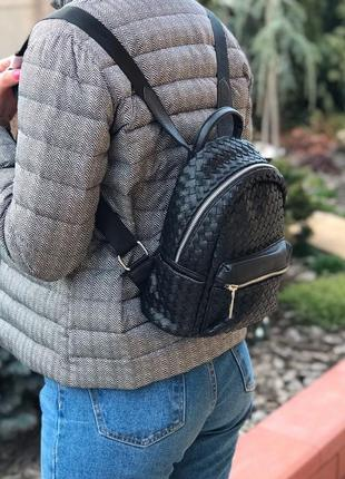 Женский стильный плетёный мини рюкзак valensiy жіночий ранець ...