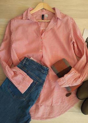 Базовая/хлопковая /рубашка в полоску /оверсайз h&m l-m