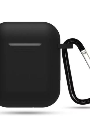 Силиконовый чехол для наушников Apple Airpods Черный с карабином