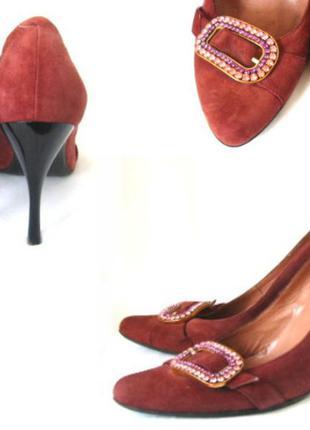 Винтажные замшевые туфли, лодочки novita марсала, натуральный ...