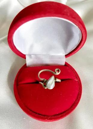 Винтажное кольцо мельхиор перламутр СССР