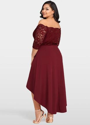 Батал shein  кружевное асимметричное платье р. 54-56