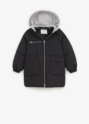 Куртка с серым капюшоном zara зимняя евро зима холодная осень ...
