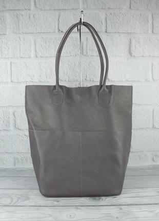 Кожаная сумка-шоппер с клатчем внутри vera pelle 2557 серая, и...
