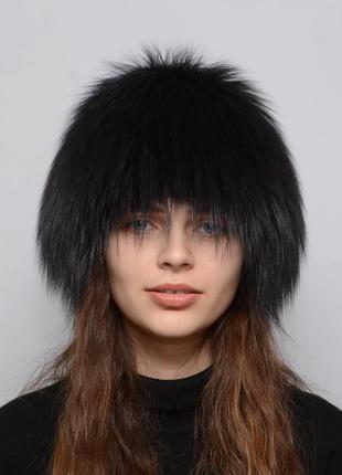 Женская меховая шапка из чернобурки парик (снопик) темный ирис