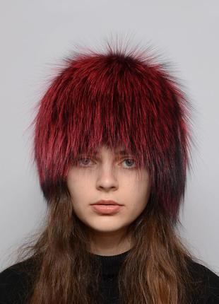 Женская меховая шапка из чернобурки парик (снопик)  марсал