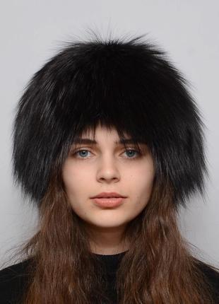 Женская меховая шапка из чернобурки парик (снопик)  шоколад