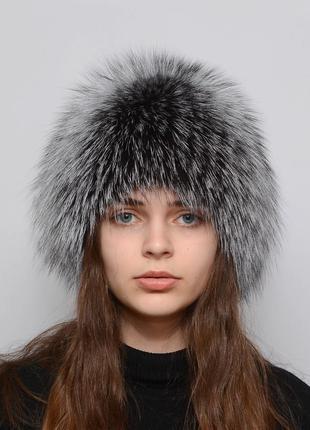 Женская меховая шапка из чернобурки парик (снопик)  натуральна...