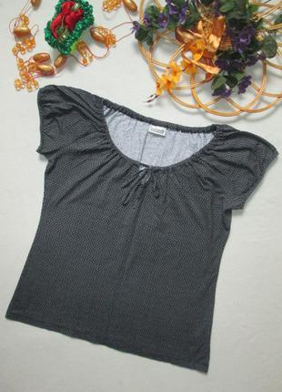 Классная хлопковая стрейчевая футболка принт мелкие ромашки st...