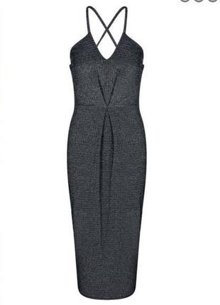 Платье блестящее миди фирмы boohoo