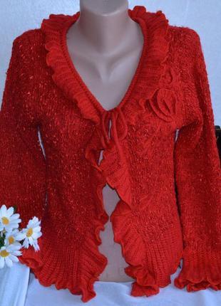 Брендовый красный вызаный кардиган накидка mon fisai