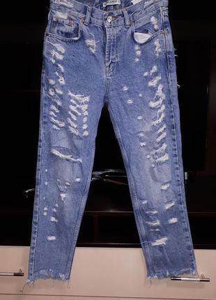 Крутые рваные джинсы моми раз. s
