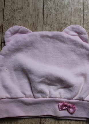 Шапочка с ушками  на 6-12 месяцев