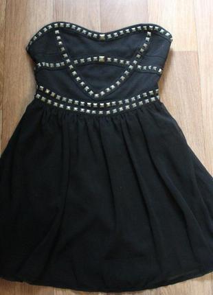 Платье в заклепках, низ шифоновый