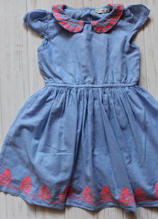 Платье с вышивкой crafted  на 1-2года