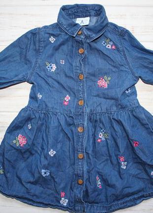 Платье под джинс с вышивкой f&f  на 12-18мес.