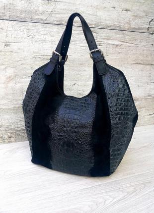 Итальянская большая и вместительная кожаная сумка кожа крокоди...