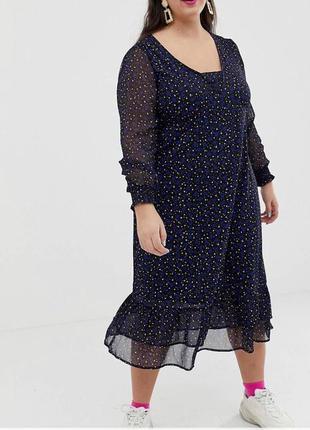 Шифоновое платье миди в принт с длинным рукавом и оборками aso...
