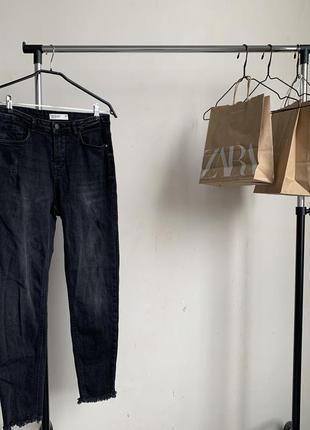Стильные джинсы скинни дэним с потёртостями в стиле zara skinn...