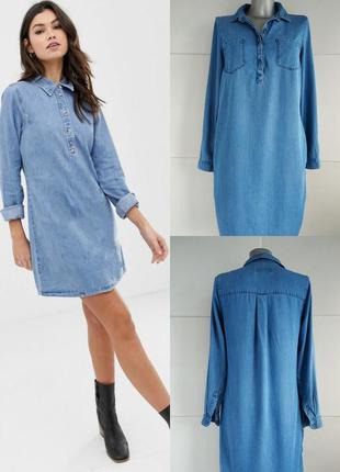Джинсовое платье-рубашка new look с длинными рукавами