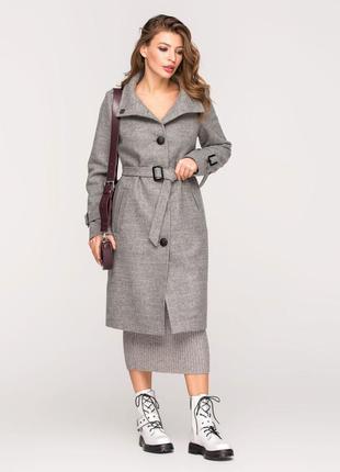 Пальто воротник стойка серый