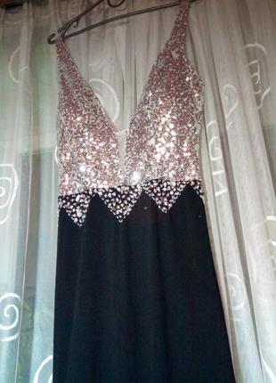 Шикарное вечерние платья со шлейфом.  лиф в паетках.