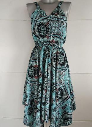 Красивое летнее  платье -сарафан h&m с асимметричным низом