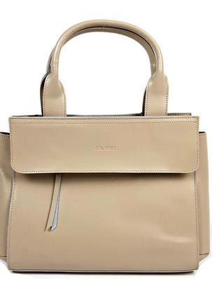 Большая кожаная сумка цвета хаки формата а4, galanty