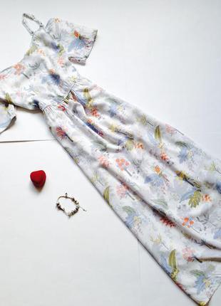 Белое платье миди с цветочным принтом
