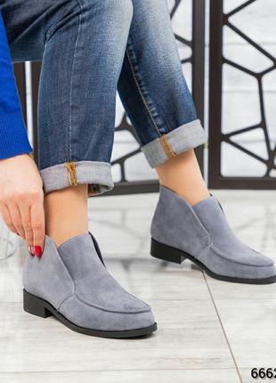 ❤ женские серые весенние демисезонные замшевые ботинки ботильо...