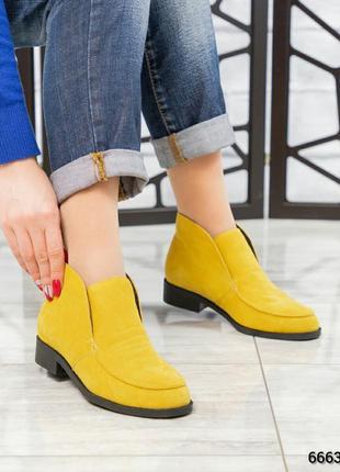 ❤ женские желтые весенние демисезонные замшевые ботинки ботиль...