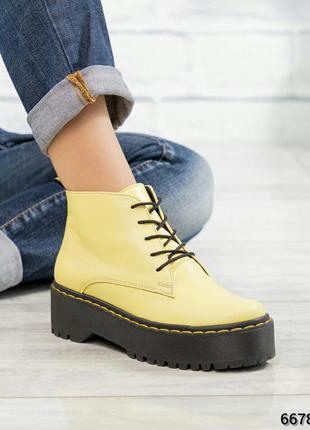 ❤ женские желтые весенние демисезонные кожаные ботинки ботильо...