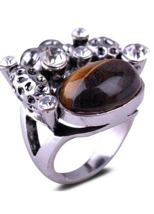 🏵красивое массивное кольцо с камнем тигровый глаз, 18 р., ново...