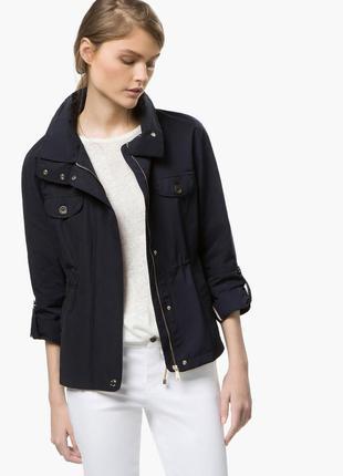 Темно синяя демисезонная куртка парка massimo dutti