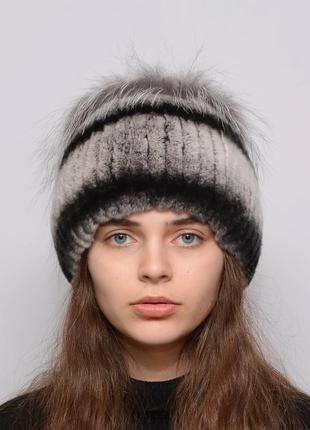 Женская зимняя меховая шапка из кролика петли