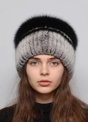 Женская зимняя меховая шапка из кролика бубон большой
