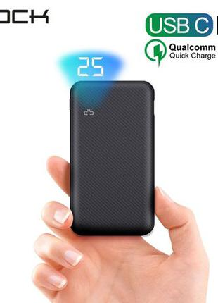 Power bank Rock PD QC 3.0 10k повер банк аккумулятор батарея з...