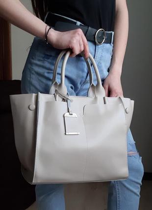 Молочная большая женская сумка из натуральной кожи, galanty