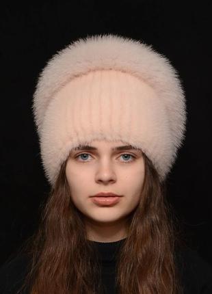 Женская вязаная норковая шапка калачик с песцом пудра