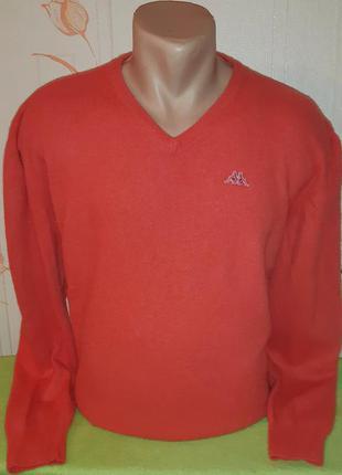 Яркий оригинальный свитер kappa,  80 % шерсть made in tynisia