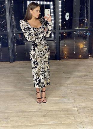 Платье велюр с пайетками черно-бежевое